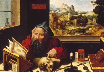 This painting by the Workshop of Pieter Coecke van Aelst depicts St. Jerome in his study